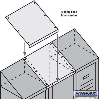 Sloping Hood Filler - In-Line - 15 Inch Wide - for 12 Inch Deep Metal Locker - Tan