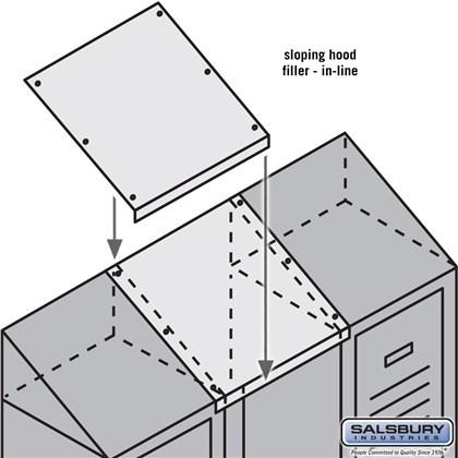Sloping Hood Filler - In-Line - 15 Inch Wide - for 18 Inch Deep Metal Locker - Tan