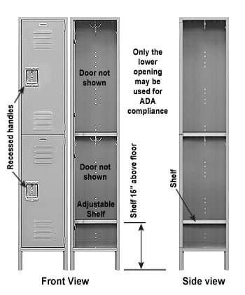 ADA Compliant Double Tier Metal Locker